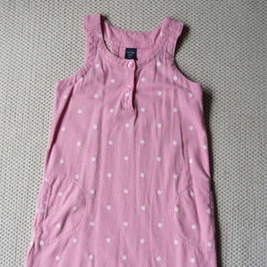 Gap Baby Pink Polka Dot Sleeveless Shirt Dress 4T